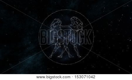 Gemini zodiac sign of the beautiful bright stars on the background of cosmic sky. Stars and symbol outline on a dark sky background. Zodiac signs. Horoscope. Astrology sign.