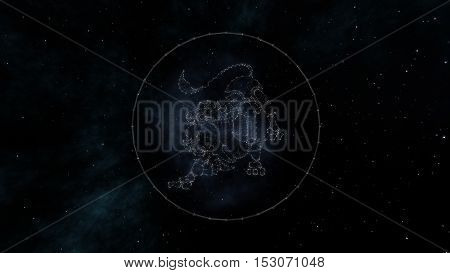 Leo zodiac sign of the beautiful bright stars on the background of cosmic sky. Stars and symbol outline on a dark sky background. Zodiac signs. Horoscope. Astrology sign. Part of a Zodiac series.