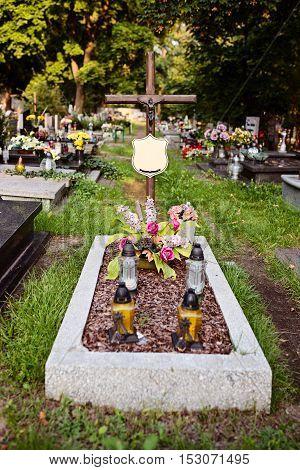 Grave On Cemetery.