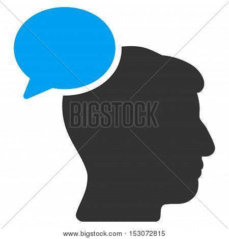 Person Idea glyph pictograph. Style is flat graphic bicolor symbol, blue and gray colors, white background.