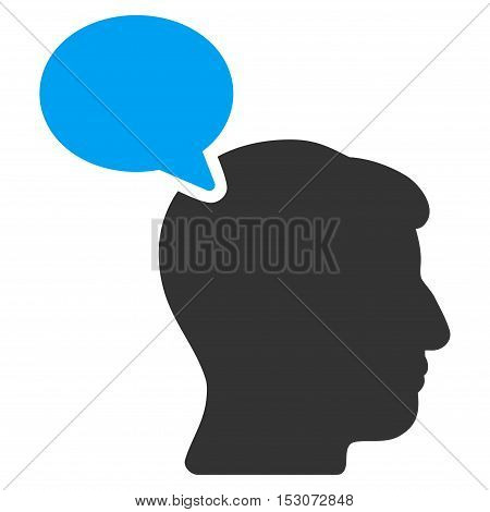 Person Opinion glyph icon. Style is flat graphic bicolor symbol, blue and gray colors, white background.