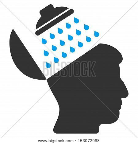 Propaganda Brain Shower glyph icon. Style is flat graphic bicolor symbol, blue and gray colors, white background.