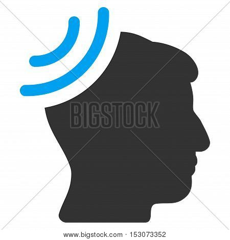 Radio Reception Brain glyph pictograph. Style is flat graphic bicolor symbol, blue and gray colors, white background.