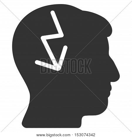Brain Electric Strike glyph pictogram. Style is flat graphic symbol, gray color, white background.