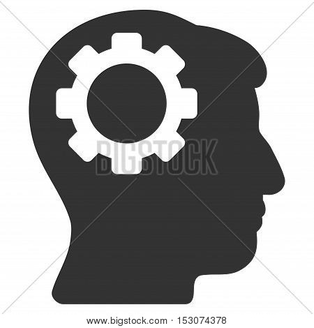 Brain Gear glyph icon. Style is flat graphic symbol, gray color, white background.
