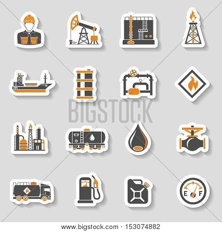 Oil industry extraction production and transportation oil and petrol Two Color Sticker Icons Set with oilman, rig and barrels. vector illustration.