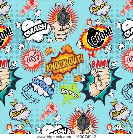 Comics seamless pattern with speech bubbles lightning weapon and fist on blue texture background vector illustration