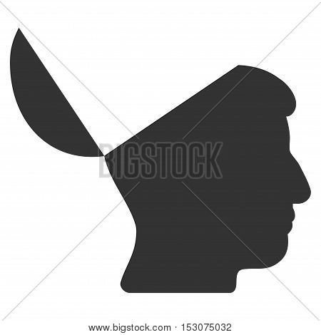Open Mind glyph icon. Style is flat graphic symbol, gray color, white background.