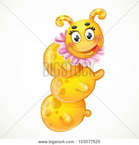 Yellow caterpillar toy in pink collar children's toy isolated on white background