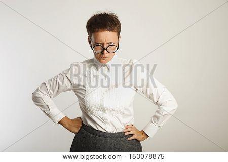 Emotional Female Teacher In Glasses