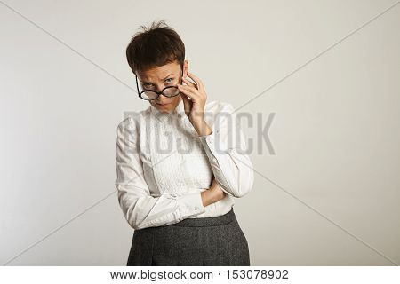 Emotional Female Teacher In Glasses