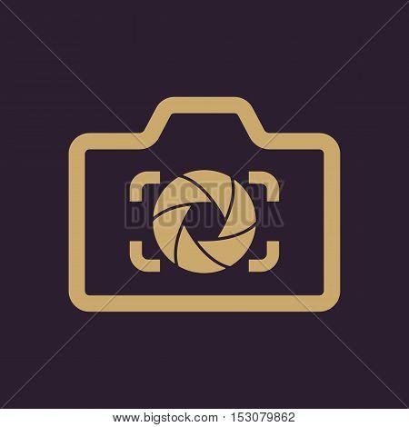 The camera icon. Photo and diaphragm, photographer, photographic symbol. Flat Vector illustration
