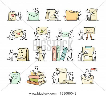 Paper objects set with working little people. Doodle cute miniature scenes of workers with stationery. Hand drawn cartoon vector illustration for business and school design.