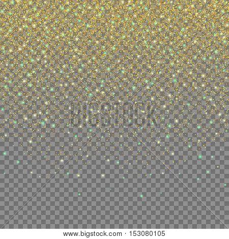 Magic light effect, Gold glittering star dust on transparent background, Falling stars, Vector design