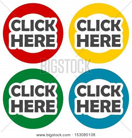 Simple Click Here icons set on white background