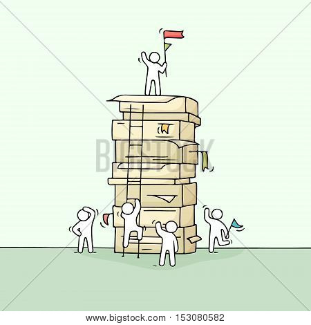 Cartoon working little people with big stack of paper. Doodle cute miniature scene of workers about leadership. Hand drawn vector illustration for business design.
