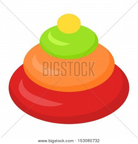 Stacking toy pyramidion isolated on white. Child toy. Stacking rings in flat design style. Favourite toy of the little toddler. Game for developing learning skills of the kid. Vector illustration.