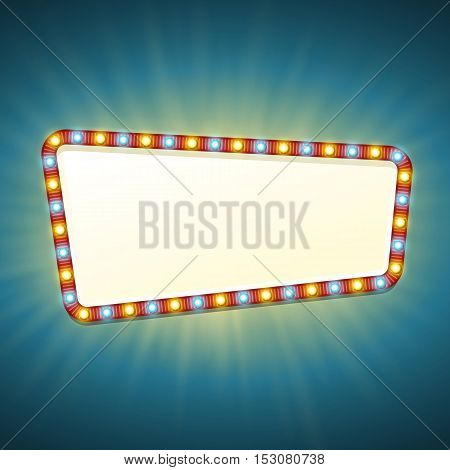 Blank 3d retro light banner with shining bulbs. Red sign with yellow and blue lights and blank space for text. Vintage street signboard. Advertising frame with glow. Colorful vector illustration