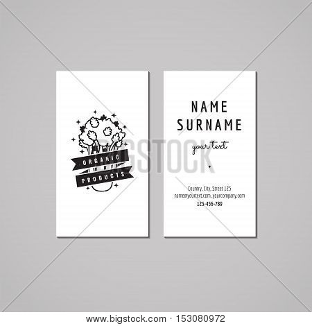 Organic food business card design concept. Logo with celery and ribbon. Vintage hipster and retro style.