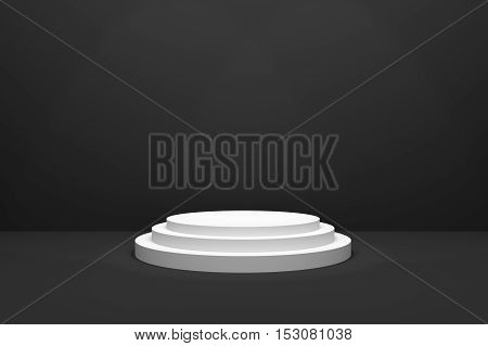 3D Rendering : illustration of stage for awards ceremony. White round podium. First place.3 steps empty podium on black room background and lighting drop from top.for advertising your product or present a product
