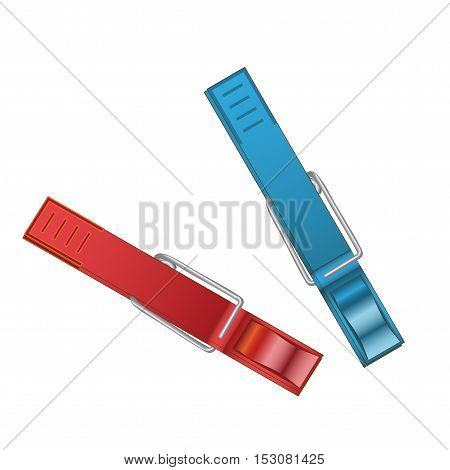 Vector plastic red and blue clothespin - illustration