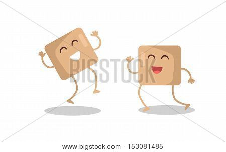 Smiling and dancing cane brown sugar cubes vector. Flat design. Funny cartoon of culinary ingredient. For restaurants menu illustrating, food concept, diet infigraphics.  Isolated on white background