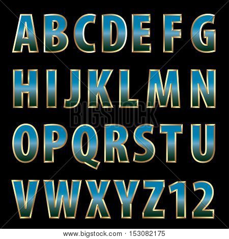 vector blue shiny alphabet with golden frame