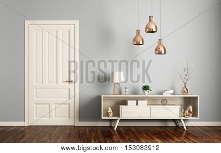 Modern Living Room Interior With Door 3D Rendering