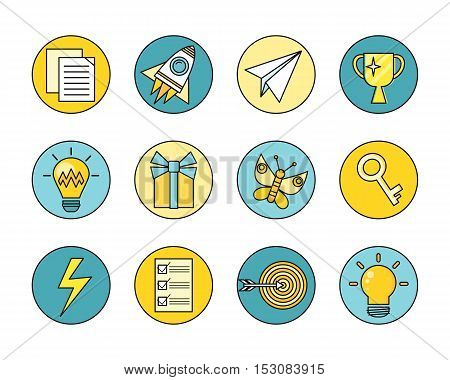 Idea generation round icon set in flat. Idea generation, problem solving, strategy solution, analysis innovation, research, brainstorm, good solution, optimization, insight inspiration illustration