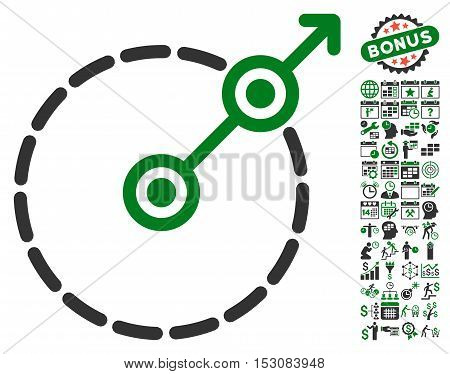 Round Area Exit pictograph with bonus calendar and time service design elements. Glyph illustration style is flat iconic symbols, green and gray colors, white background.