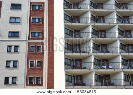 Barcelona (Catalunya Spain): residential buildings in the Avinguda del Paral-lel