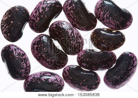 Background of  Scarlet Runner beans ( Phaseolus coccineus) isolated on a white background