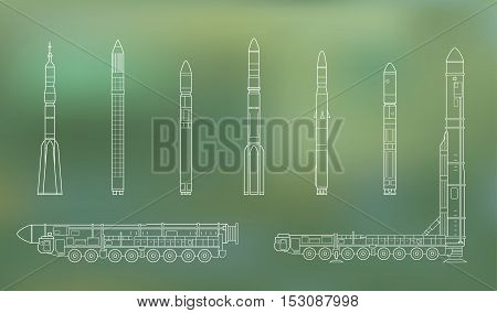 Intercontinental ballistic missile Topol-M and rockets. Vector illustration isolated on green.