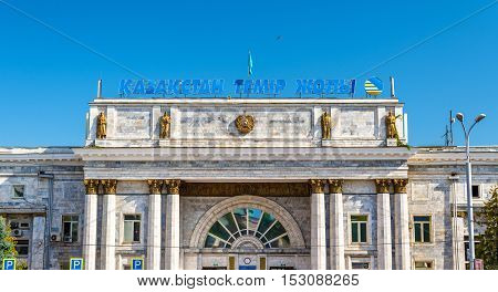 Almaty, Kazakhstan - August 10, 2016: Railway station Almaty-2. Almaty is the largest city in Kazakhstan, and was the capital until 1997