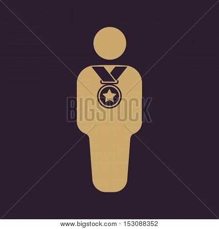 The winner avatar icon. Champion and award, prize, triumph symbol. Flat Vector illustration