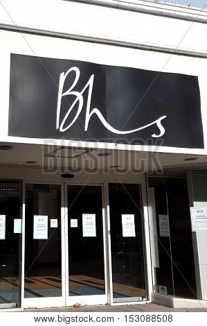 Carmarthen, UK, October 22, 2016 :  Closed down empty and bankrupt BHS department retail store in the city centre