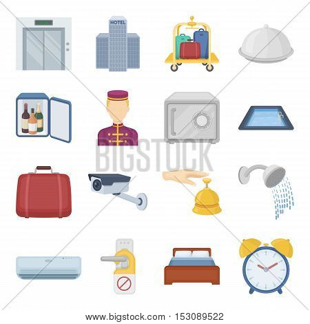 Hotel set icons in cartoon style. Big collection hotel vector symbol stock