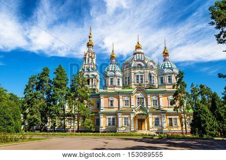 The Ascension Cathedral, a Russian Orthodox cathedral located in Panfilov Park of Almaty, Kazakhstan