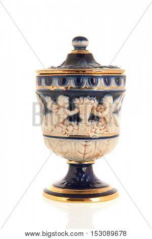 Antique Greek vase isolated over white