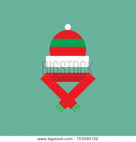 Winter cloth icon. Flat pictogram of christmas theme. Color elemnts for design website or mobile app.