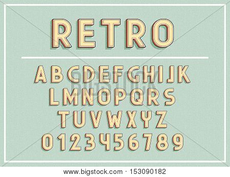 Retro fonts and abc letters print typography vector Illustration. Retro type font, vintage alphabet. Font english lowercase letters