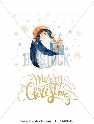 Merry Christmas lettering with watercolour pinguin. New year card.