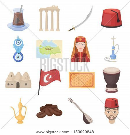 Turkey set icons in cartoon style. Big collection Turkey vector symbol stock