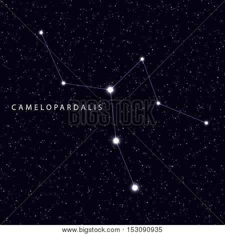 Sky Map with the name of the stars and constellations. Astronomical symbol constellation Camelopardalis