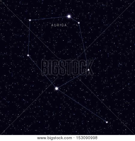 Sky Map with the name of the stars and constellations. Astronomical symbol constellation auriga