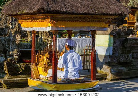 Prayer in Tirta Empul Temple on Bali Island Indonesia - travel and architecture background