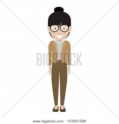 avatar female woman smiling with glasses and wearing executive clothes over white background. vector illustration