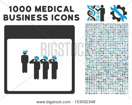 Blue And Gray Army Squad Calendar Page glyph icon with 1000 medical business pictograms. Set style is flat bicolor symbols, blue and gray colors, white background.