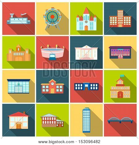 Building set icons in flat style. Big collection building vector symbol stock