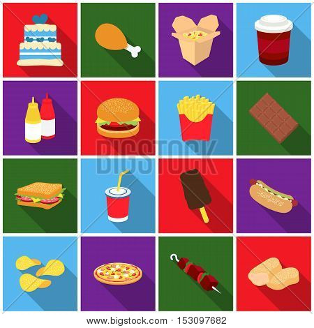 Fast food set icons in flat style. Big collection fast food vector symbol stock